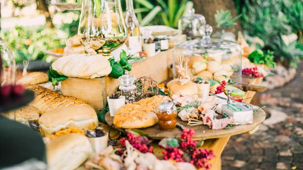 wedding table displaying eco friendly wedding food