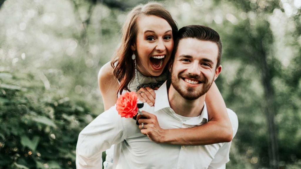 bride & groom happy after planning eco friendly wedding